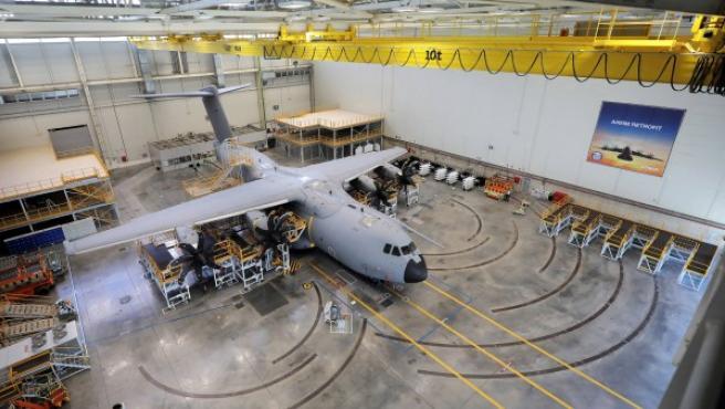 Imagen del interior de la primera estación de retrofit A400M, en la planta de San Pablo (Sevilla).