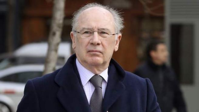 El expresidente de Bankia Rodrigo Rato, a su llegada a la sede de la Audiencia Nacional.