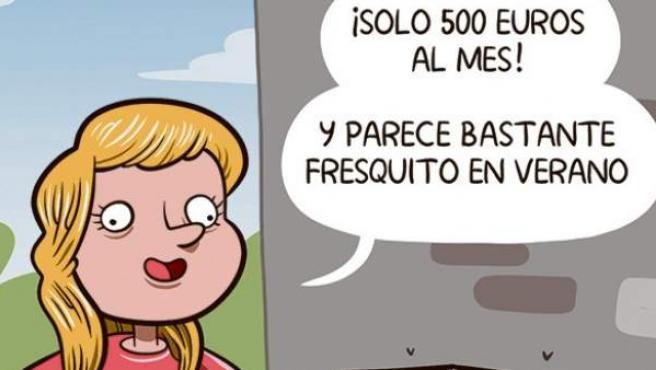 'El abuso del alquiler', viñeta de Álvaro Terán.
