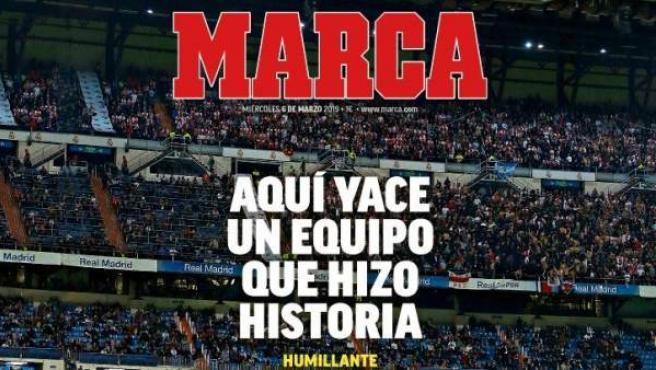 La portada del diario Marca, a modo de epitafio