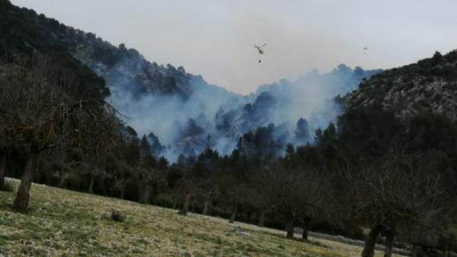 Sucesos.- Continúan las tareas de extinción del incendio de Son Ordines, en el R