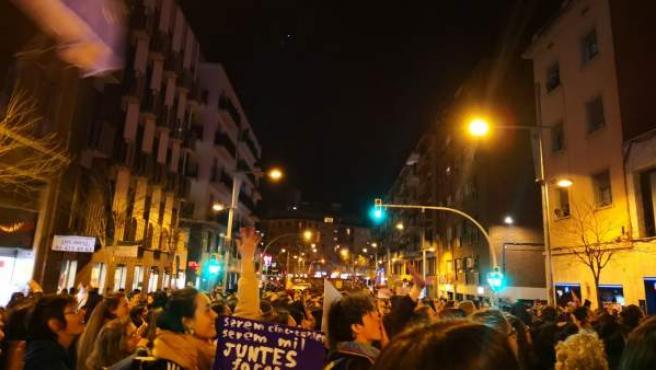 Manifestación en Barcelona en el arranque de la jornada de huelga feminista del 8-M.