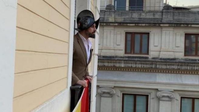 Santiago Abascal, en la fotografía tuiteada por la cuenta de VOX.