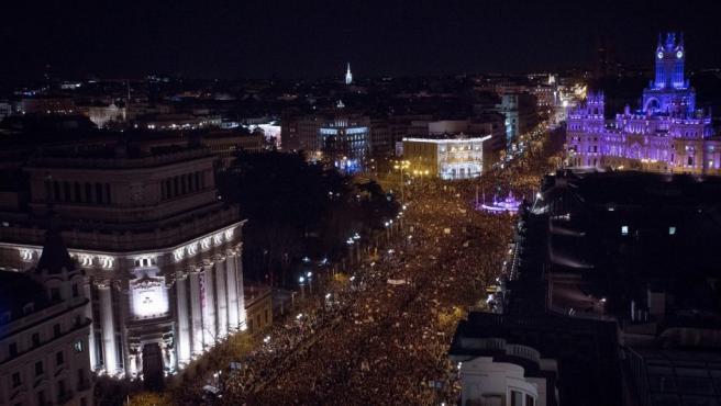 Vista general de la marcha feminista en Madrid.