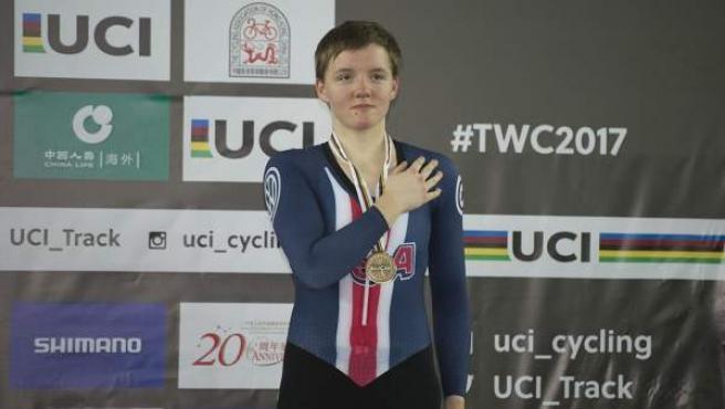 Kelly Catlin, ciclista estadounidense especialista en pruebas de pista.