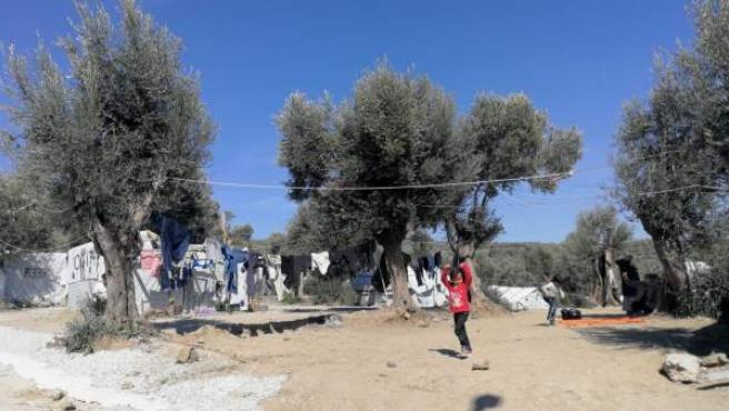 Fotografía del campo de refugiados de Moria, en Lesbos.