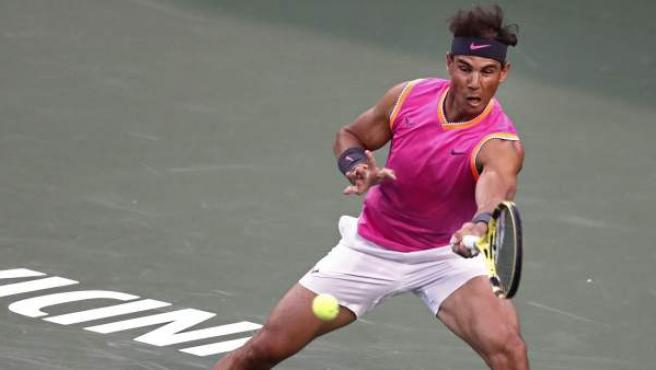 Rafa Nadal, en su debut en el Masters 1000 de Indian Wells.