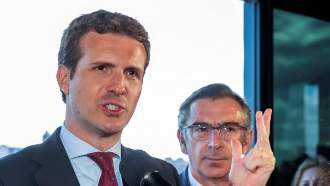 El presidente del PP, Pablo Casado, en un acto en Zaragoza.