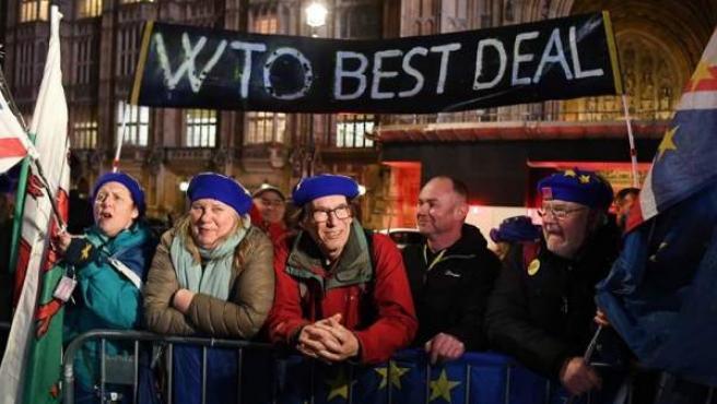 Manifestantes a favor y en contra de permanecer en la UE se manifiestan a las afueras del Parlamento británico, en Londres.