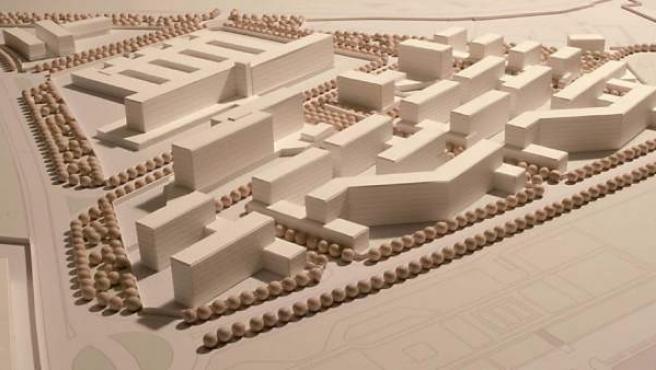Maqueta del plan original para la construcción de viviendas, oficinas y un hospital