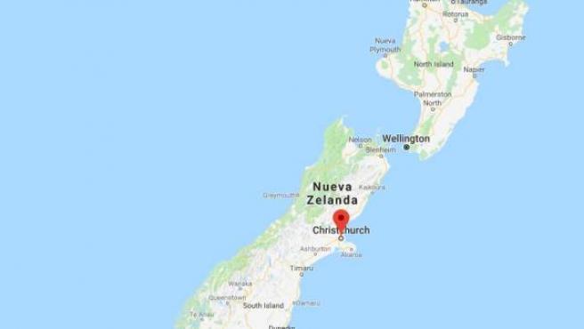 Mapa de Nueva Zelanda con un marcador en Christchurch.