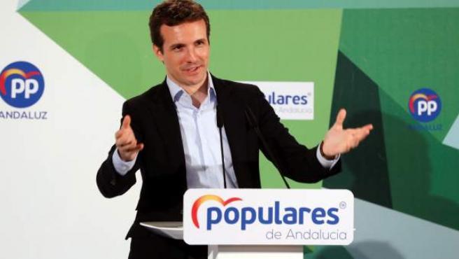 El presidente del PP, Pablo Casado, en Sevilla.