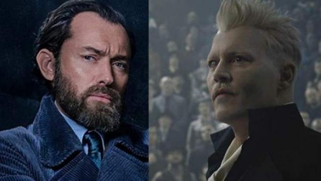 Jude Law y Johnny Depp, caracterizados como Albus Dumbledore y Gellert Grindelwald.
