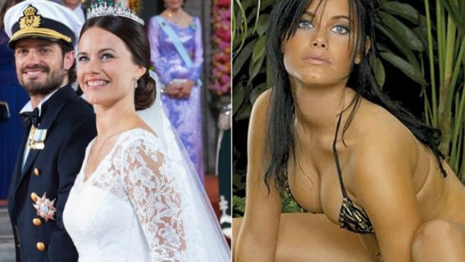 Sofía Hellqvist, en su boda y en una imagen de su posado previo para la revista 'Slitz'.
