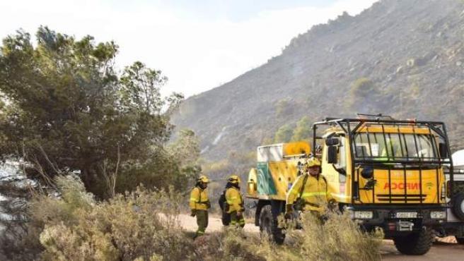 Almería.- Sucesos.- Extinguido el incendio declarado en el Barranco de Lotrines