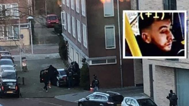 El momento en que la Policía saca al presunto atacante de un apartamento, en Utrecht.