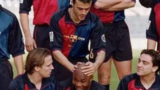 Luis Enrique y Amunike en su etapa como jugadores del FC Barcelona.