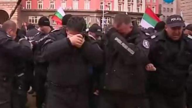 Agentes de la policía búlgara.