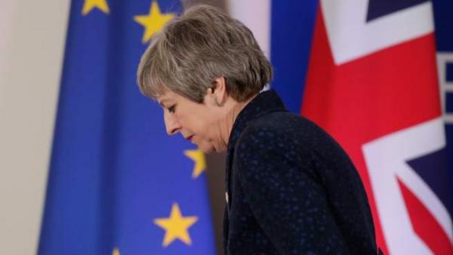 La primera ministra británica, Theresa May, en el Consejo Europeo en Bruselas.
