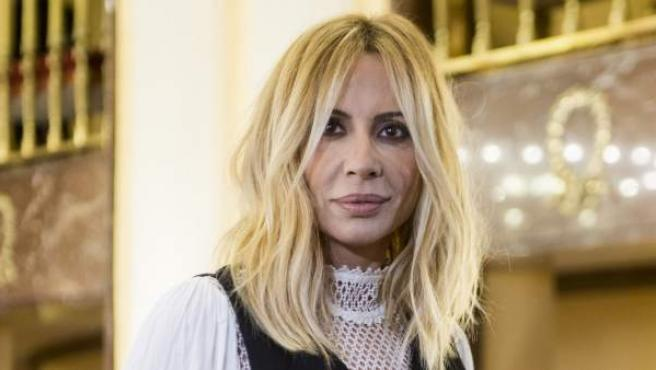 Marta Sánchez, en un encuentro con la prensa, en 2018.