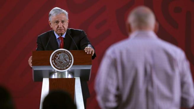 López Obrador, durante su rueda de prensa diaria en Palacio Nacional.