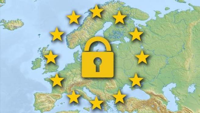 Un candado sobre la Unión Europea.