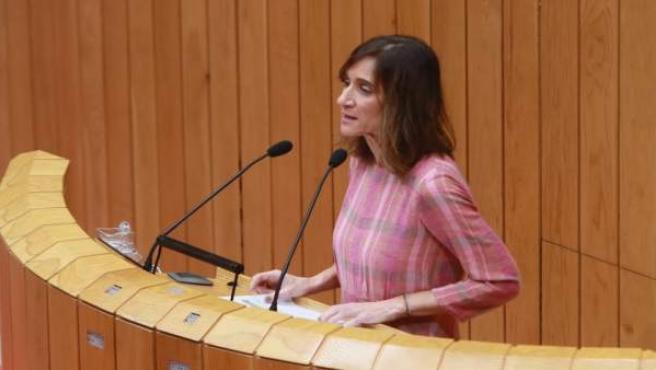 La conselleira de Educación, Carmen Pomar, en el pleno del Parlamento