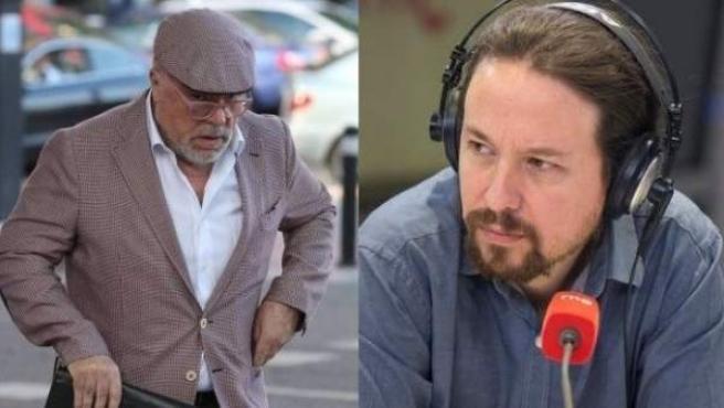 El comisario Villarejo (i) y el líder de Podemos, Pablo Iglesias.