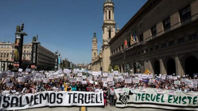 Manifestación de 'Teruel existe' en Barcelona