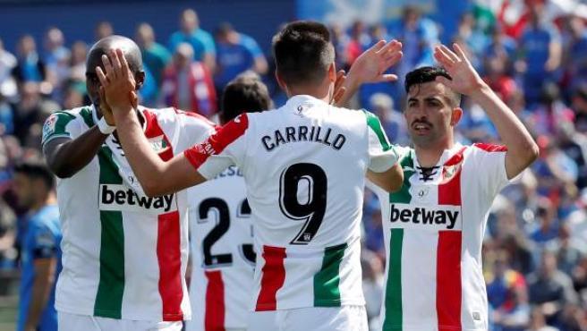 El Leganés celebra un gol ante el Getafe