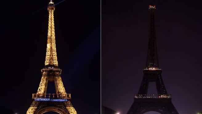 La Torre Eiffel de París, iluminada y apagada por la Hora del Planeta.