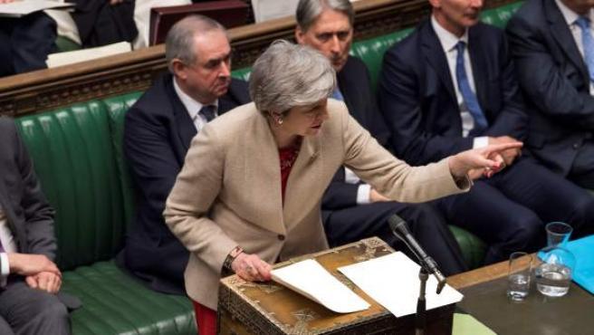 La primera ministra del Reino Unido, Theresa May, este viernes en la Cámara de los Comunes.