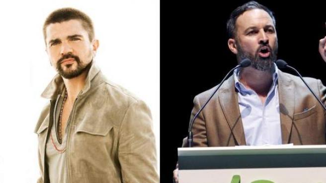 El cantante Juanes, en un montaje de fotos con Santiago Abascal.