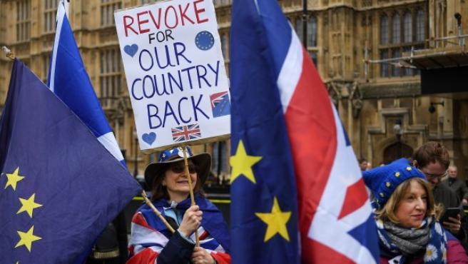 Una activista pro Unión Europea en una manifestación ante el Parlamento.