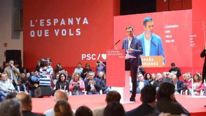 El presidente del Gobierno, Pedro Sánchez, durante la clausura de la convención municipal del PSC en Tarragona.
