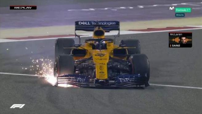 Carlos Sainz, tras su toque con Verstappen en Bahréin.