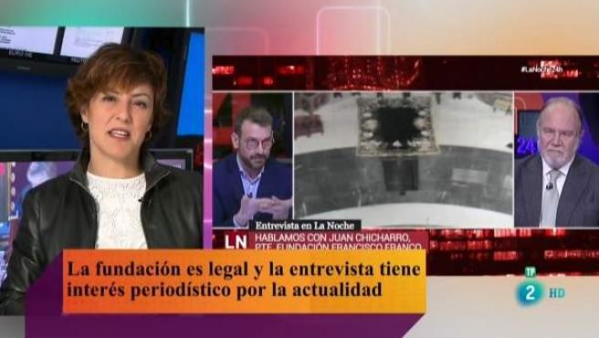 La directora del Canal 24 horas da explicaciones sobre una entrevista al presidente de la Fundación Francisco Franco.