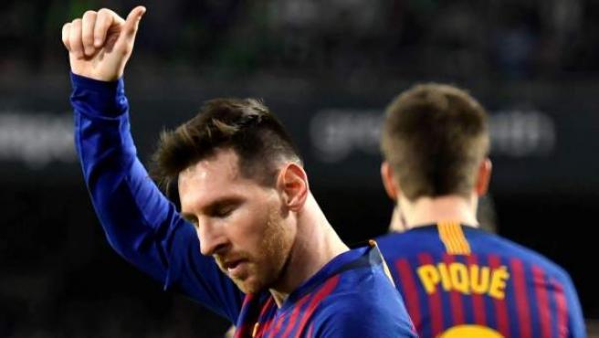 Leo Messi celebra un gol en un partido de Liga.