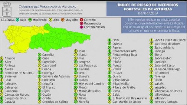 Riesgo alto de incendio forestal en toda la parte occidental asturiana para este