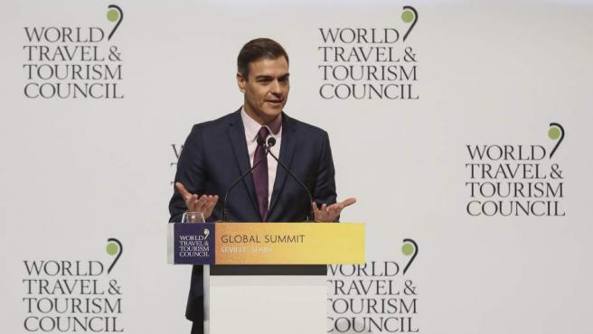 Pedro Sánchez en la Cumbre Mundial del Turismo.