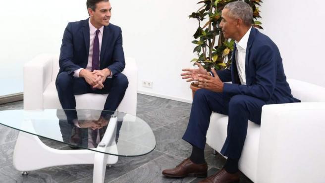 Foto del encuentro entre Sánchez y Obama.