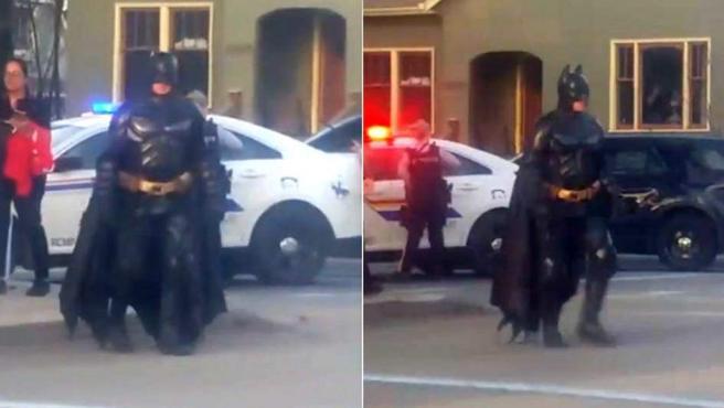 El Batman canadiense en lugar donde se estaba produciendo una operación policial.