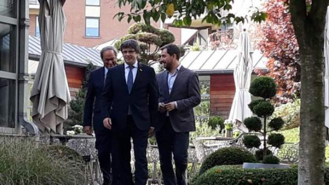 El presidente Quim Torra, el expresidente Carles Puigdemont y Toni Comín.