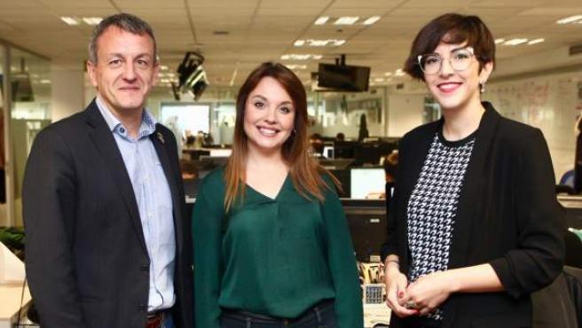 Fernando Rivarés, Maru Díaz y Violeta Barba, candidatos.