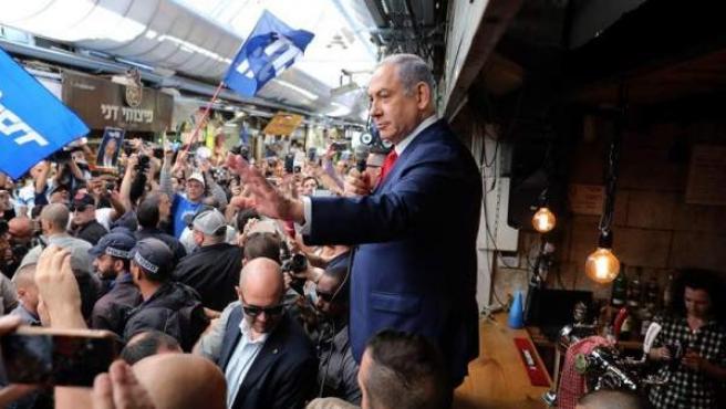 El primer ministro israelí y presidente del partido Likud, Benjamin Netanyahu, en Jerusalén, el último día de campaña electoral.