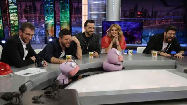 Pablo López, Luis Fonsi, Paulina Rubio y Antonio Orozco, en 'El hormiguero'.