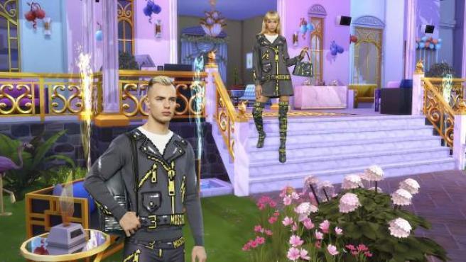Los modelos de Moschino posan dentro del mundo de 'Los Sims'