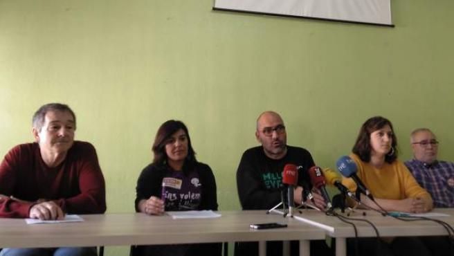 Representantes de los sindicatos de educación.