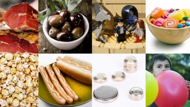 Algunos de los alimentos y objetos con los que más cuidado hay que tener para evitar atragantamientos.