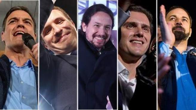 Pedro Sánchez, Pablo Casado, Pablo Iglesias, Albert Rivera y Santiago Abascal, en el inicio de la campaña para las elecciones generales del 28 de abril.